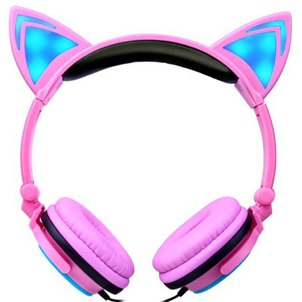 EPULA Foldable Cat Flashing Glowing FOX Ear Headphones Music Gaming Headset For PC Monitor Studio Earphone Support Voice Control image
