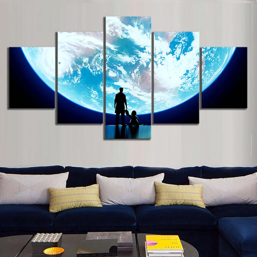 Us 5 93 40 Off Modular Canvas Wall Art Pictures 5 Pieces E Super Moon Painting Prints Overwatch Video Game Poster Home Decor Frameworks In Painting