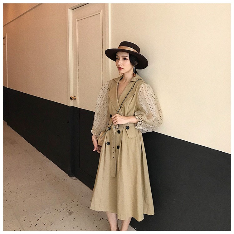 2019 Dot Mesh Puff Long Sleeve Patchwork Windbreaker Female's Double Breasted Long Coat Fashion   Trench   Coat