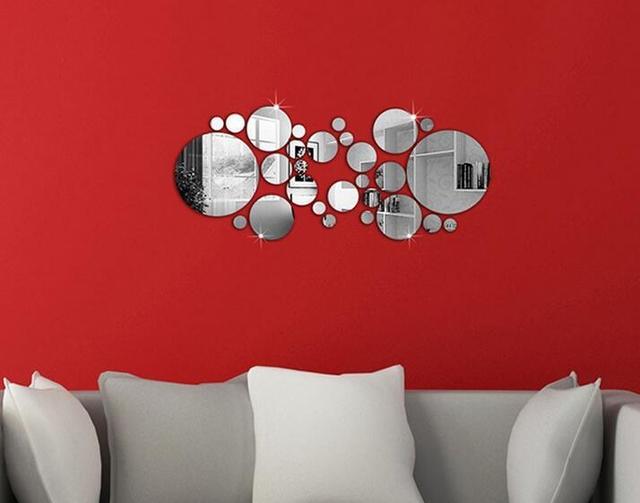 Pcs ensemble mignon argent diy cercle miroir stickers muraux