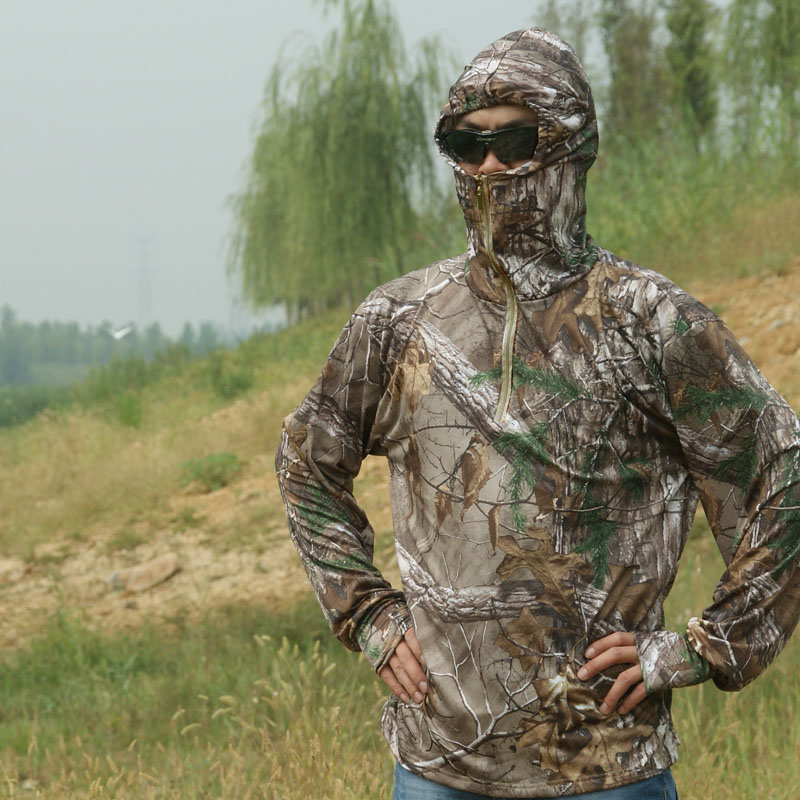 Summer Ultra-Thin Quick-Drying Bionic Camouflage T-Shirt Tops Male Hunting Fishing Hiking Sunscreen Hooded T-Shirts Long Sleeve