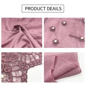 Image 5 - 新しいウェディング女性ヒジャーブスカーフ刺繍レース真珠スカーフ無地マキシ女性イスラム教徒hijabsファッションスカーフとショール