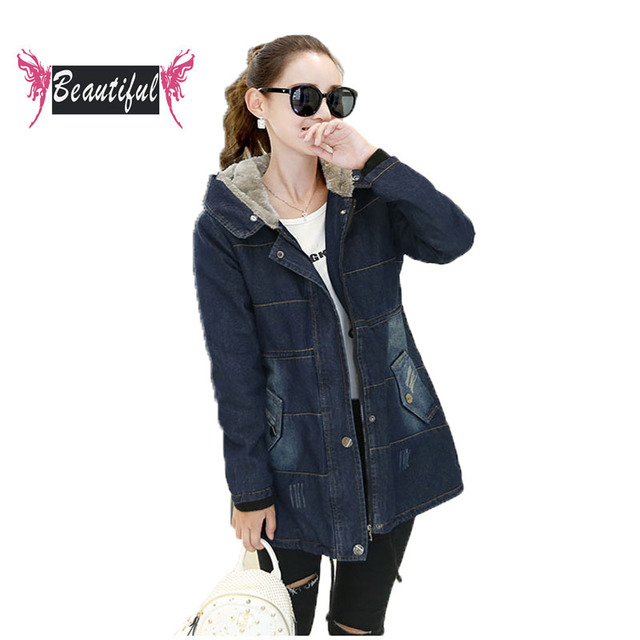 New 2016 Autumn Coats Womens casual long sleeve with hood cowboy jacket medium long denim jacket women clothing parkas