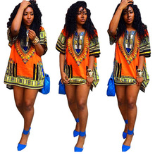Women African Clothing Traditional Fashion Desing Tribal Print casual Unisex 100% Summer 2018 Loose Fit Top Dress