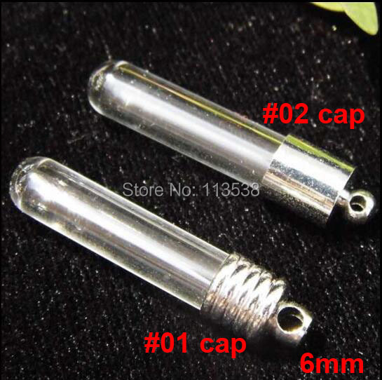 100sets lot 6mm tube round bottom glass Vial Pendant silver plated cap rubber plug mini charm