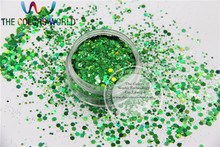 H1214-118  Holographic Green Colors Hexagon shape Mix size  Glitter for Nail Polish Acrylic and DIY supplies