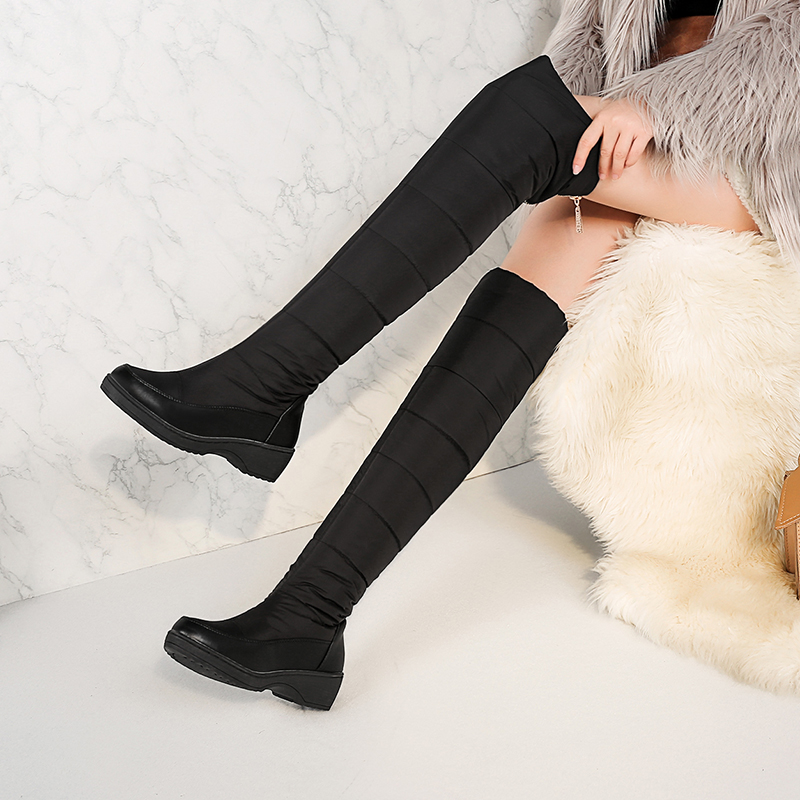 f7b715b10 Купить Теплые зимние сапоги на меху, женские сапоги выше колена, модные  сапоги для русской зимы, женская обувь 2018, черные, синие, большие размеры  Цена ...