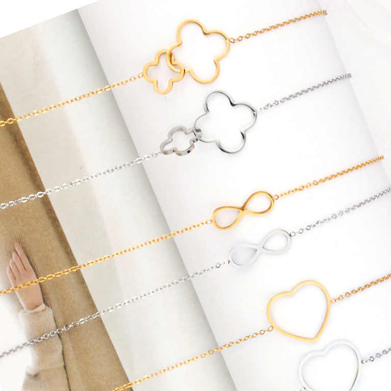 heart infinity star cross clover circle charm chain link  bracelet charms female femme braclet friendship bracelets for women