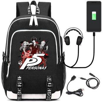 Аниме рюкзак Persona 5 USB зарядка и кабель бесплатно