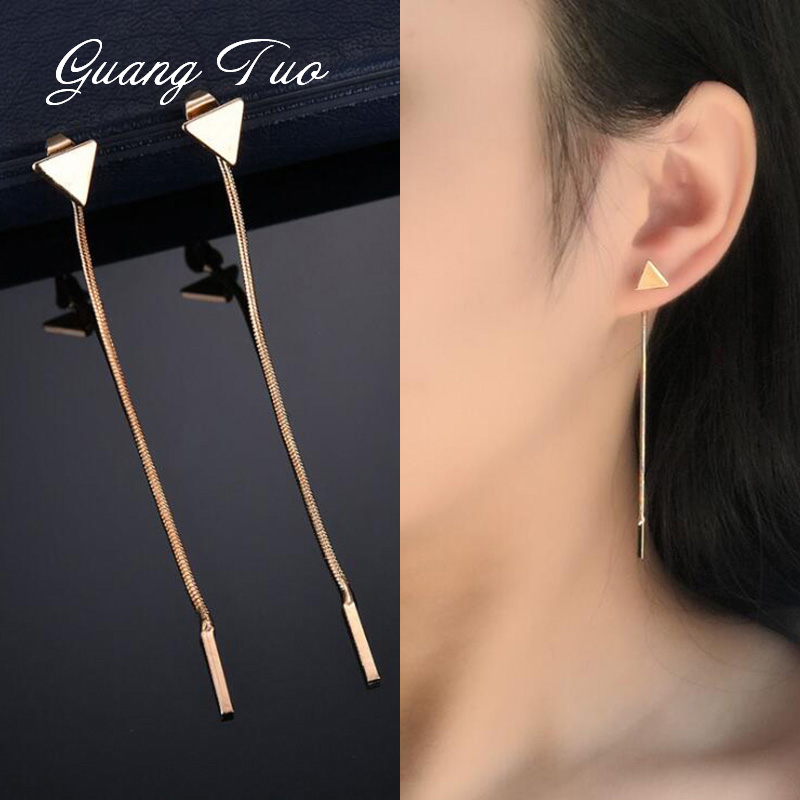 Fashion Triangle Earrings Chain Tassel Earrings For Women Jewelry Temperament Simple Long Earrings Boucle D'oreille Femme 2019