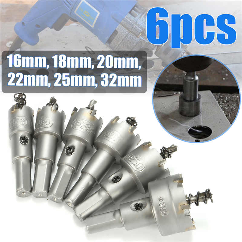 6Pcs 16-32mm HSS Carbide Tip Drill Bit Hole Saw Cutter Set Metal Tungsten Steel Wood Metal Drilling autotoolhome 10pc 12 40mm hole saw tooth kit hss steel drill bit set cutter tool for woodworking metal wood alloy