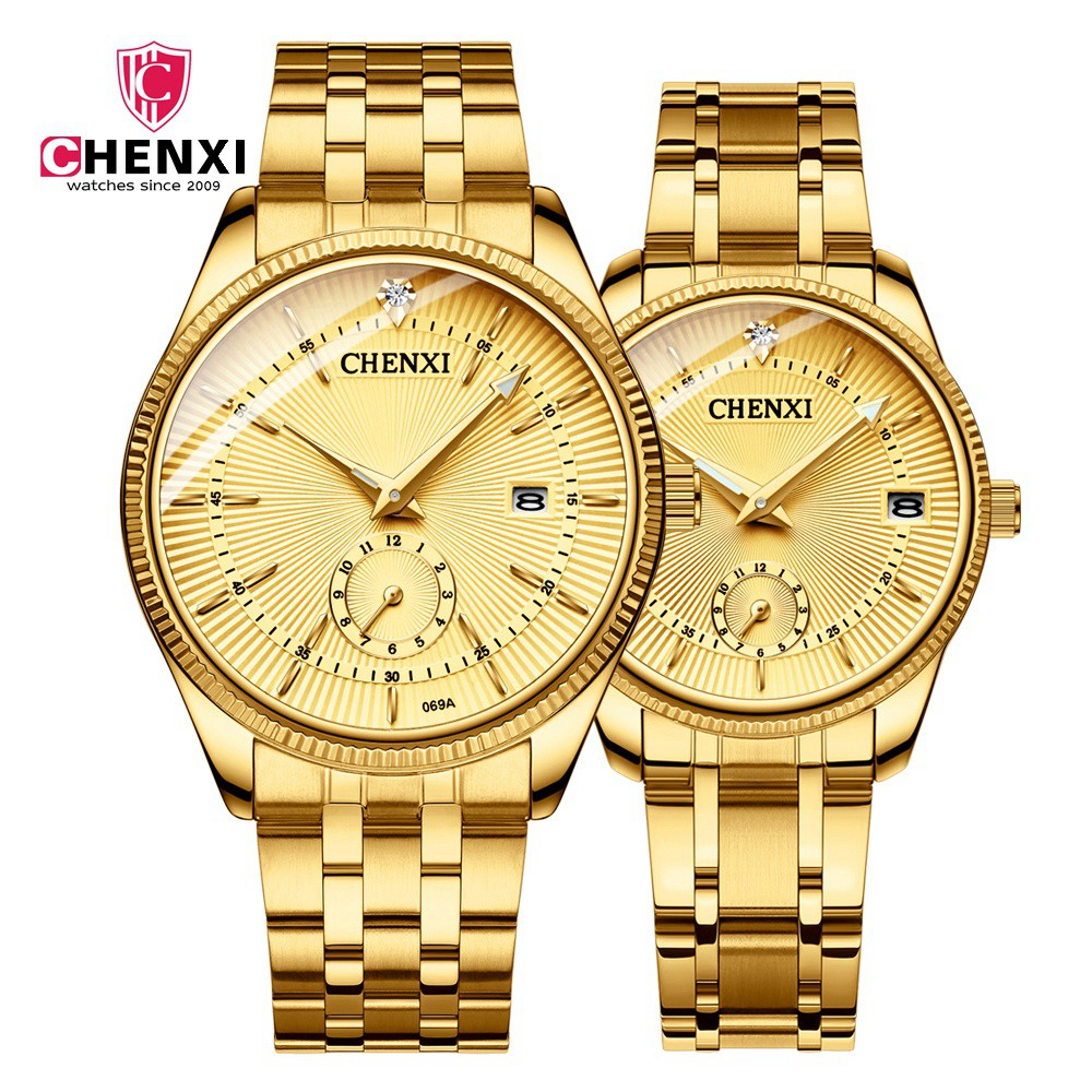 Luxury Women Men Couple Watches Top Brand CHENXI Waterproof Stainless Steel Lover's Wristwatch Calendar Quartz Casual Clock Gift