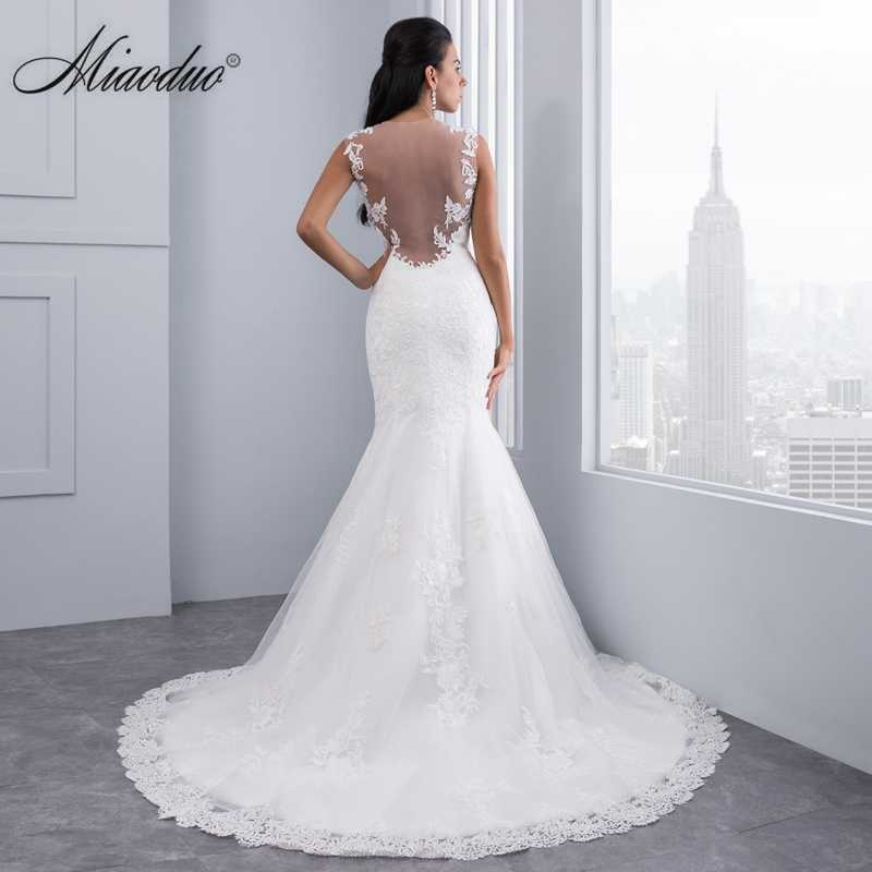f4f2d3798b2cc ... Miaoduo Vintage Mermaid Lace Wedding Dress Full Length Scoop Neck Bridal  Gown Sexy Sleeveless 2019 Bridal ...