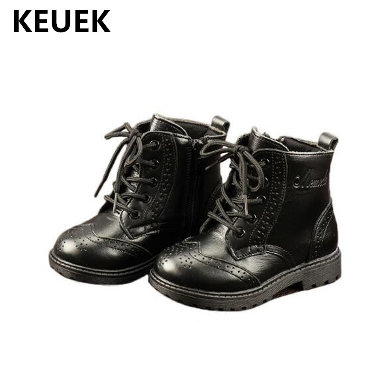 New Children Baby boots Kids Toddler Shoes Boys Girls School Black Breathable Genuine Leather Ankle Boots Student 04New Children Baby boots Kids Toddler Shoes Boys Girls School Black Breathable Genuine Leather Ankle Boots Student 04