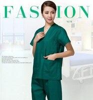 Short Sleeve Blue Green Medical Coat Uniform Nurse Clothing Lab Coat Hospital Doctor Clothes Outfit Medico