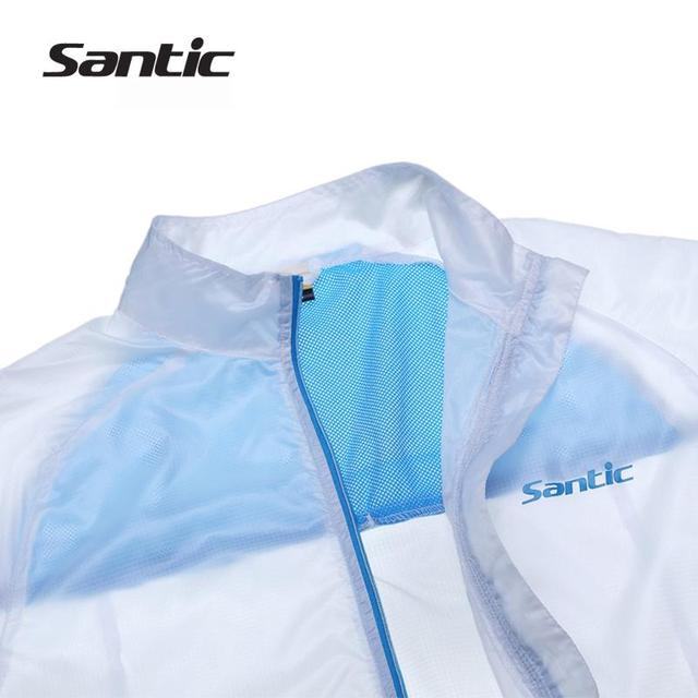 Santic White Cycling Raincoat  WindProof Jacket  UPF30+ light Men Outdoor Professional Bike Cycling Sports Jacket  MC07010W