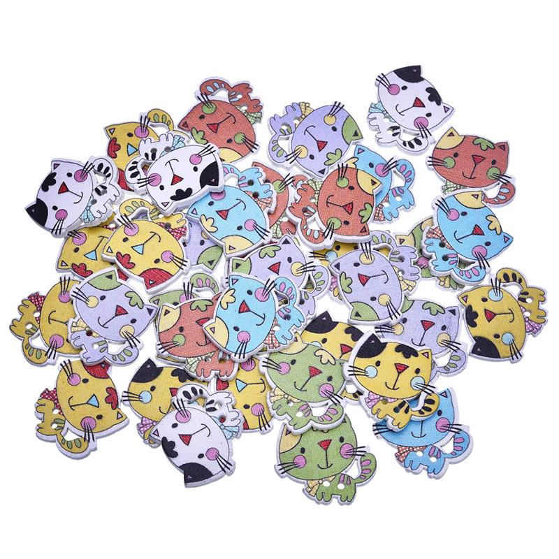 50Pcs Cute Cat Shaped Wooded Button Random Color Mixed  Sewing Accessories Wood Buttons For Clothing DIY Handmade Craft24*26mm button