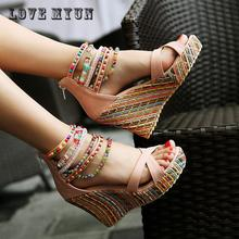Brand New Women's Shoes Bohemian High Heel Wedge Sandals Fashion Color Beaded Chain Thick Crust Muffin Sandals Shoes Pumps