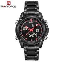 NAVIFORCE NF9050 Dual Movt Men Quarz Watch Analog Digital LED Wristwatch Calendar Watches Stainless Steel Strap