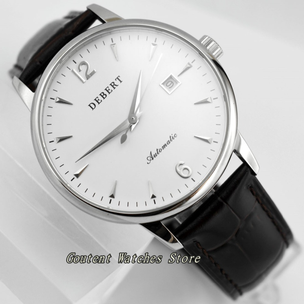 40mm Debert Date Automatic White Dial Sapphire Glass SS Case Men s Watch