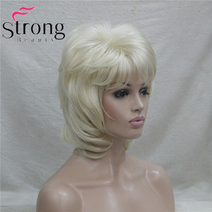 Image 3 - StrongBeauty קצר שכבות בלונד קלאסי כובע מלא סינטטי פאה נשים שיער פאות צבע אפשרויות