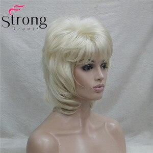 Image 3 - Strongbeauty 짧은 계층화 된 금발 클래식 모자 전체 합성 가발 여성의 머리 가발 색상 선택