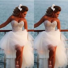 Sexy Beaded Pearls Long Ball Gown High Low Vestidos Wedding Dresses 2015 Strapless Sweetheart Bridal Gowns Long Bride Dresses(China)