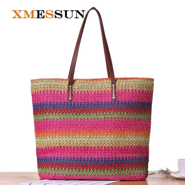 dd21aceafe3 XMESSUN Rainbow Panelled Stripes Beach Bag Summer Big Straw Bags Handmade  Tote Women Travel Handbags Designer Shopping Bags C15