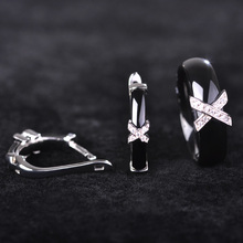 Blucome Handmade Ceramics Jewelry Sets Earrings Rings AAA Zircon Rhinestone Ear Stud Earring Letter Ring Women