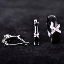 Dazz Handmade Ceramics Jewelry Sets Earrings Rings AAA Zircon Rhinestone Ear Stud Earring Letter Ring Women