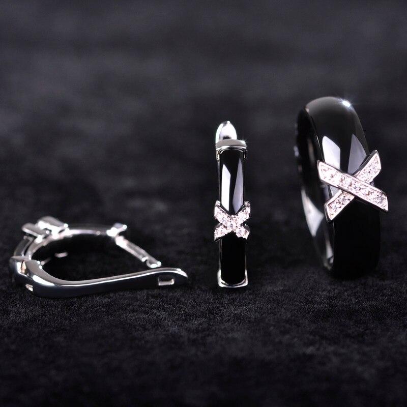 Dazz Handmade Ceramics Jewelry Sets Earrings Rings AAA Zircon Rhinestone Ear Stud Earring Letter Ring Women Party Accessories