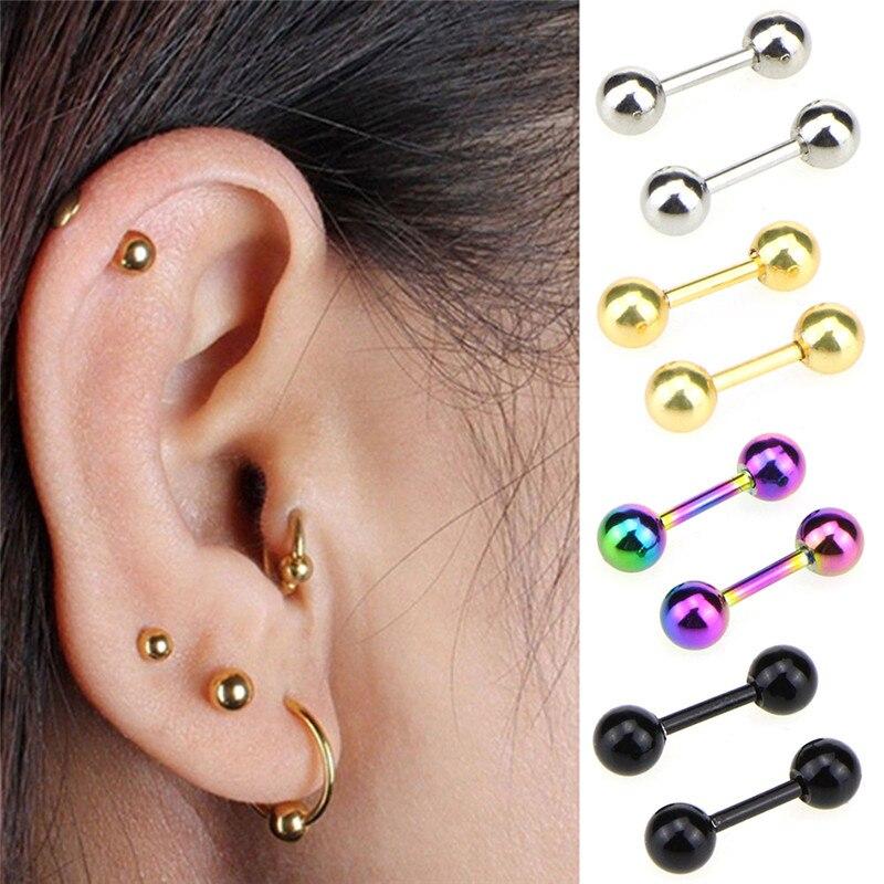 1Pair Men Women Steel Ear Cartilage Piercings Studs Helix Ring Body Barbell Ring Jewelry