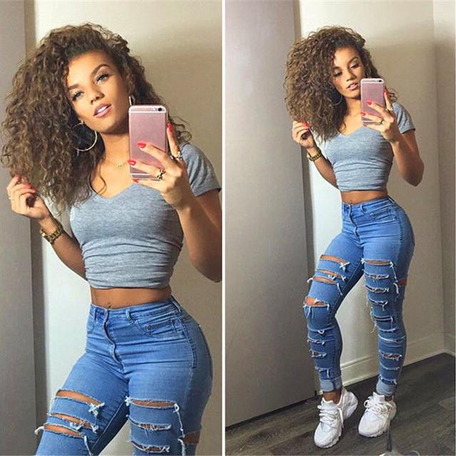 Primavera verão Mulheres buraco Moda jeans boyfriend jeans para mulher tamanho apertado calças jeans buraco calça jeans de cintura alta do vintage femme