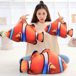 Image 2 - 3D Simulação Oceano Peixes Tropicais Abraço Travesseiro Almofada Brinquedo de Pelúcia Dos Desenhos Animados Travesseiro Tartaruga Decoração de Casa de Boneca Criança Presente de Aniversário
