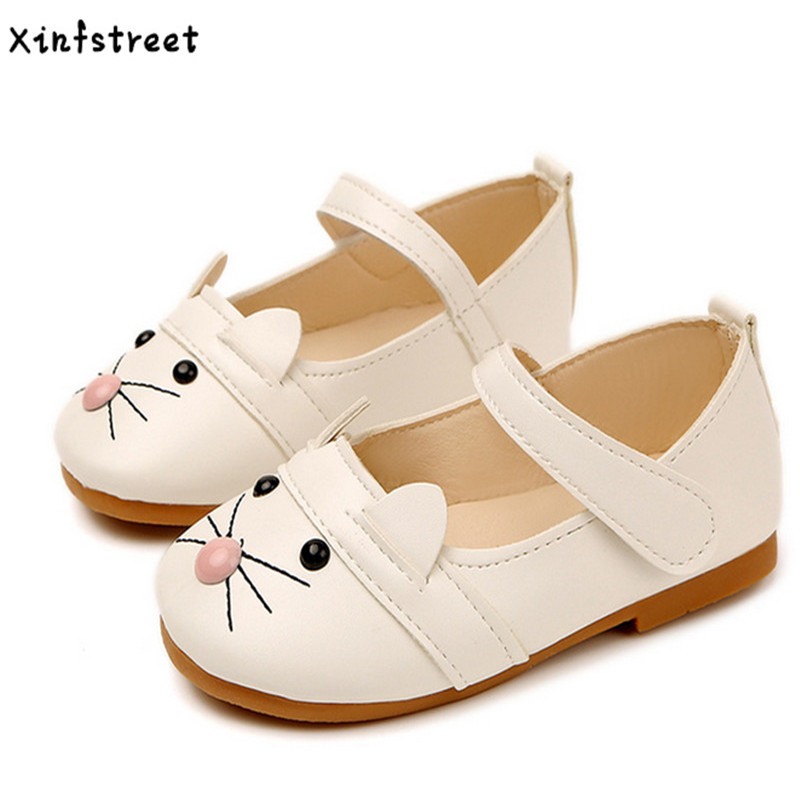 Baby Girls Shoes Cat Cute Little Kids Shoes For Girls Pu Leather Soft Children Princess Infant Shoes Girls Size 21-30