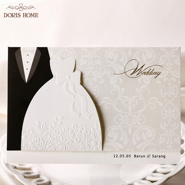 100pcs Hot Western Style Groom Bride Clothes Customizable Printable Wedding Invitations Cards Bh2046