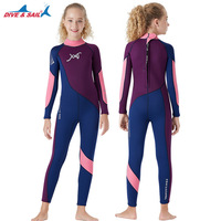 Girls 2.5MM Neoprene Thick Warm Wetsuit Youth One piece Long Sleeve Diving Suit Snorkeling Surfing Suits Swimwear Rash Guards