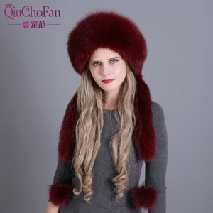 Image 2 - Womens Winter Hats Genuine Fox Fur & Rabbit Fur Hat with 2 Pompons Whole Fox Tail Russian Winter Outside Warm Mongolian Caps