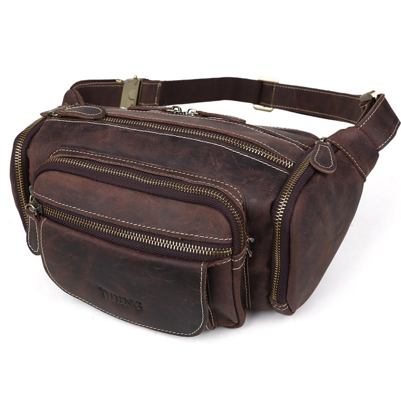 Tiding Crazy Horse Leather Waist fanny Pack Men Large Capacity Cycler Military Bag 3146 tiding unisex large 100