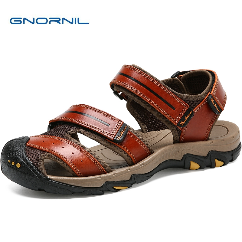 GNORNIL Brand Genuine Leather Men Sandals Summer 2018 Fashion Men Shoes Non-slip Rubber Sole Outdoor Sport Casual Beach Shoes