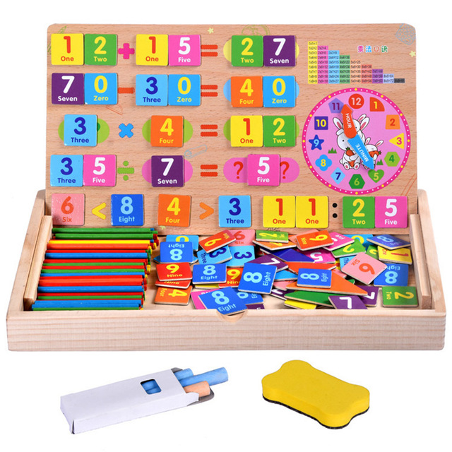 Wooden Children Math Early Education Puzzle Wooden Kids Magnetic Multi-function Digital Arithmetic Learning Puzzle Box