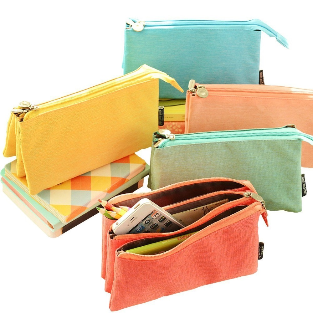 3 Zipper Super Capacity Pencil Case Three Compartment Pencil Holer Pencil Pouch Cosmetic Bag Pen Bag