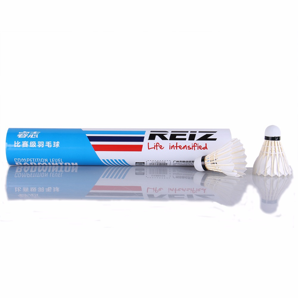12PCS/Tube Shuttlecocks Badminton White Feather Shuttlecocks Professional Competition and Game Badminton Accessories X3