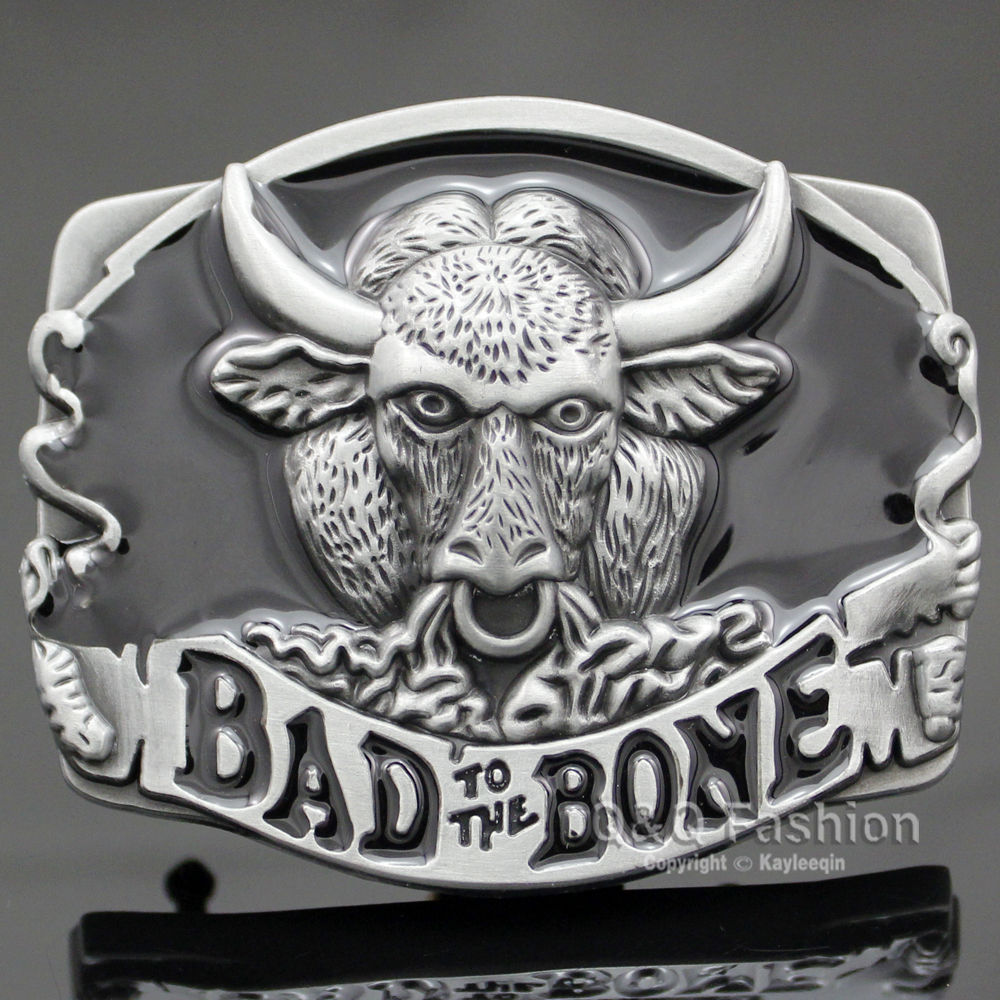 Southwest Silver Western Bad To The Bone Bull Buffalo Bison Rodeo Belt Buckle Exchange Acessories Men