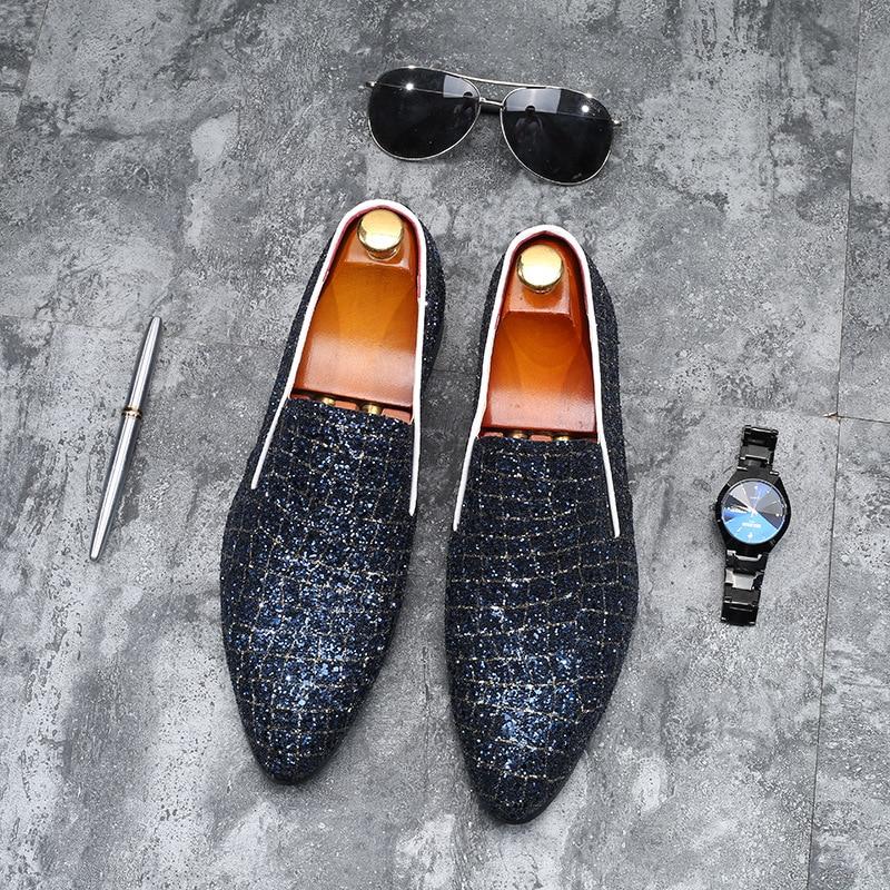 Mocassins Bling Hommes De Slip Sapato Paillettes Mariage Oxford Masculino Chaussures Tissu Pour Noir bleu Sur multi Robe Formelle 2019 HBAqRfwnw