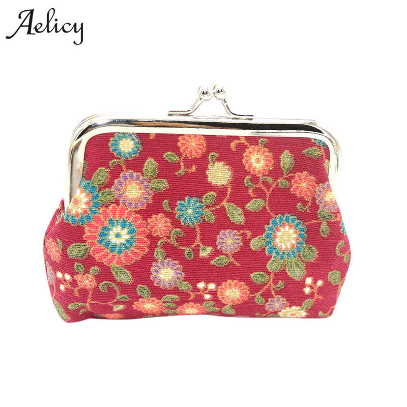 Aelicy Fashion Small Purse Lady Coin Purse Bag Luxury Women Lady Retro Vintage Flower Small Wallet Hasp Purse Clutch Carteira