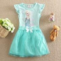 Free Shipping Retail 4 8Years Elsa Dress Children Clothing Girls Dress New 2015 Summer Anna Dress