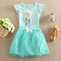 O Envio gratuito de 2016 crianças elsa anna elsa vestido ocasional das meninas da moda verão vestido das meninas do vestido do bebê Crianças Cloting