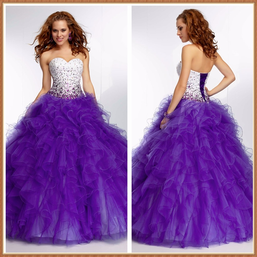 Vestidos de 15 Anos Sweetheart White And Purple Ball Gowns Crystal ...