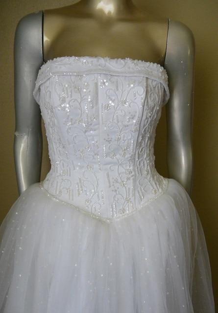 David S Bridal Michaelangelo Strapless Tulle White Wedding Dress Beads